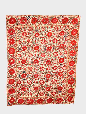 A fine embroidered linen Panel (susani) Uzbekistan, circa 1900