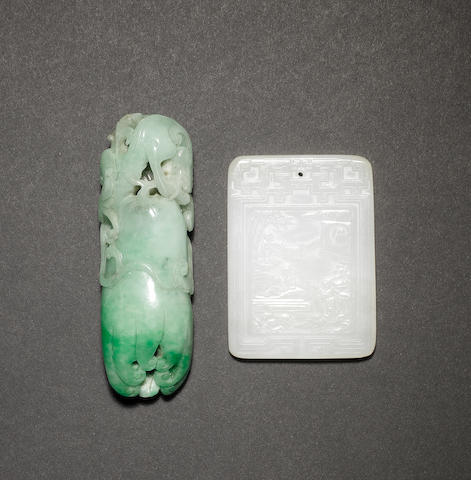A jade pendant of rectangular form, decorated with a four-line inscription; together with a mottled green ornament designed as a mythological animal on a finger-citron