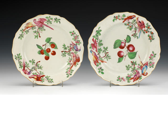 Pair Worcester plates, birds and cherries, one chipped, one with hairline crack to rim