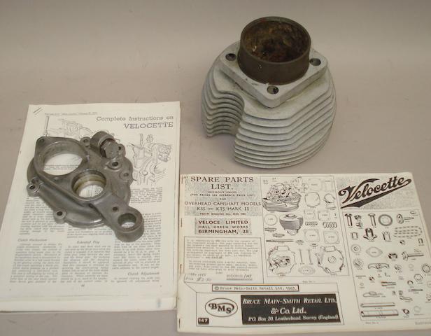 Bonhams : A Velocette KSS/KTS cylinder barrel and gearbox end cover,