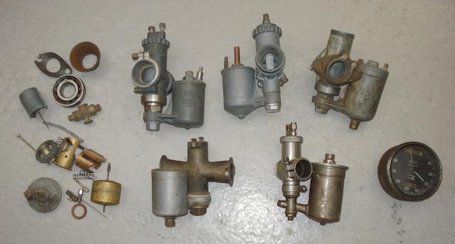Five 1930s carburettors,