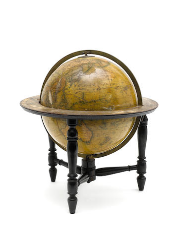 A Newton's New & Improved 12-inch terrestrial table globe, English, mid 19th century,