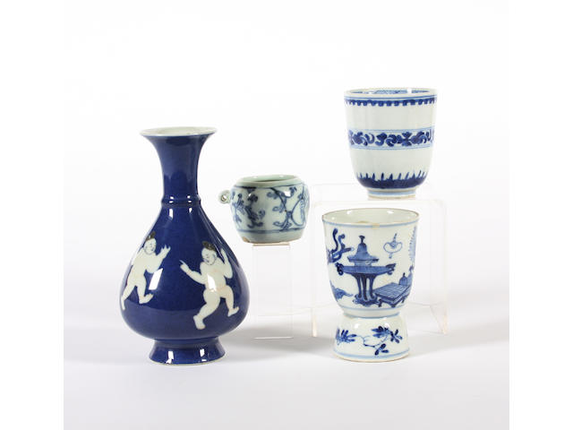 A group of Chinese export blue and white wares, 18th and 19th Century