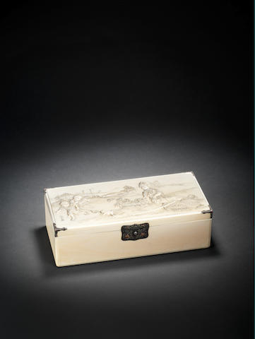 An ivory rectangular box and cover By Kyokuun, Meiji Period