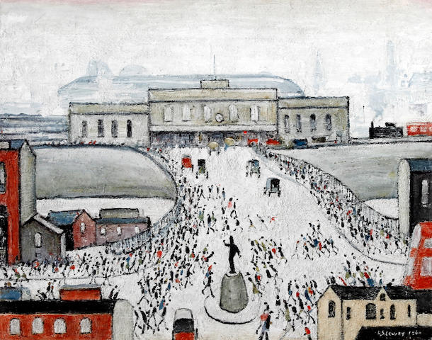 Laurence Stephen Lowry R.A. (British, 1887-1976) 'Station Approach' offset lithograph printed in colours, on wove, signed in pencil, numbered  525, printed by Max Jaffe, Vienna, published by Adam Collection Ltd., with the Fine Art Trade Guild blind stamp, with full margins,  400 x 508mm (15 3/4 x 20in)(I)(unframed)