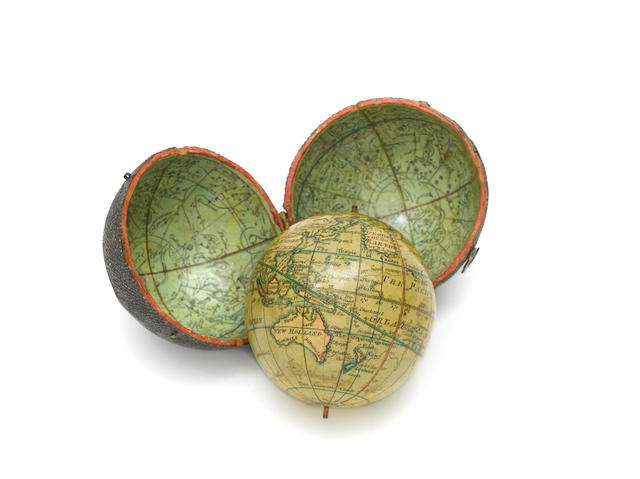 A Nicholas Lane 2 3/4-inch pocket globe, English,  published 1776,