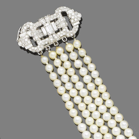 An art deco diamond and cultured pearl bracelet,