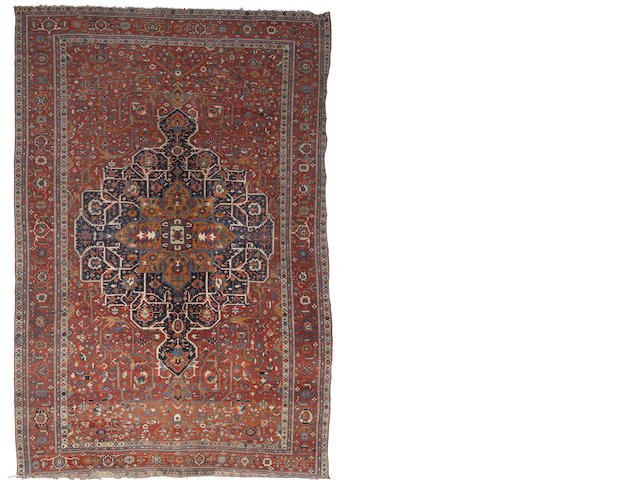 A Serapi carpet, North West Persia, circa 1890, 21 ft 8 in x 15 ft (660 x 456 cm) minor losses at each end, otherwise very good condition