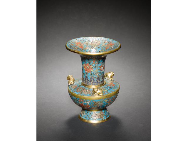 A cloisonné enamel vase of zun form on a circular footrim Ming Dynasty