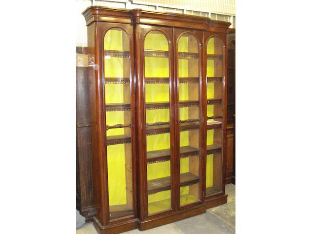 A Victorian mahogany breakfront bookcase,