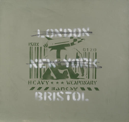 Banksy (British, born 1975)  London, New York, Bristol (Heavy Weaponry) 2000  numbered 3/10 and dated 2000 stencil spray paint on canvas 54 by 57 cm. 21 1/4 by 22 7/16 in.