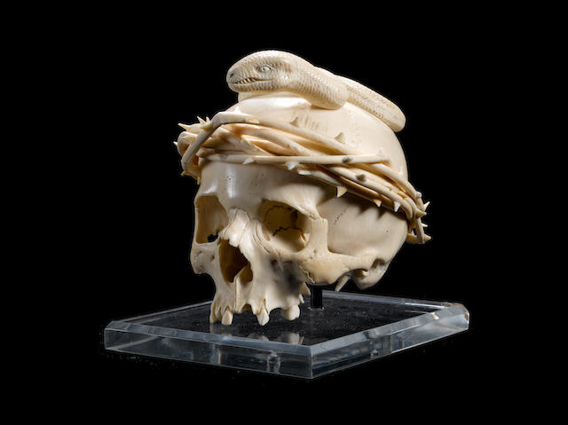 An 18th century South German ivory skull
