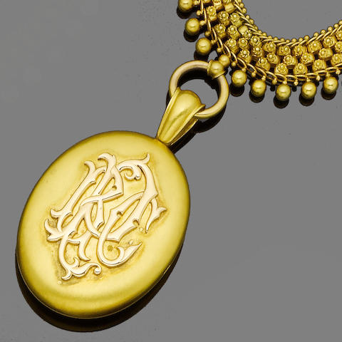 A gold collar necklace and locket/pendant by Joseph Mayer,