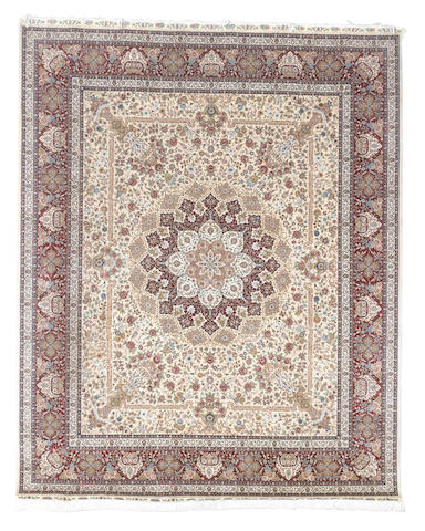 A Hereke silk carpet, West Anatolia,