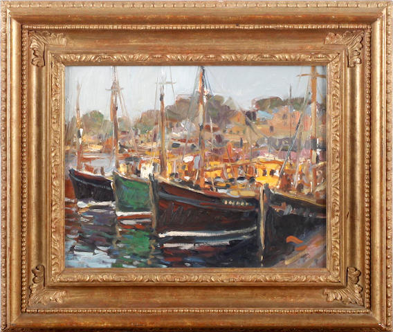 Ken Moroney (British, born 1949) Harbour scene