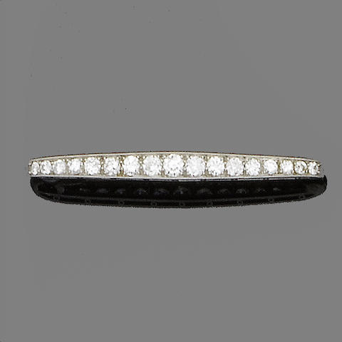 A diamond bar brooch, by Tiffany & Co.,