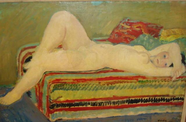 Vince Korda (Hungarian, 1897-1979) Reclining nude