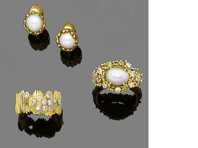 A group of cultured pearl and diamond rings and earrings, by Charles de Temple (5) (partially illustrated)