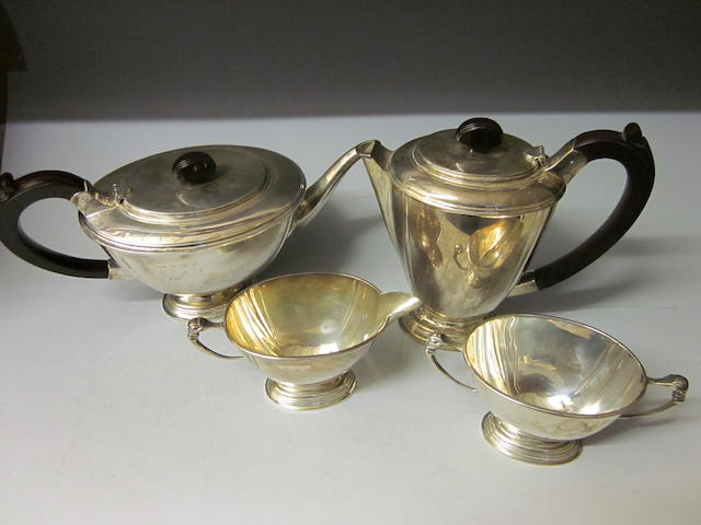 A four piece tea service, by Walker and Hall, Birmingham 1956,  (4)