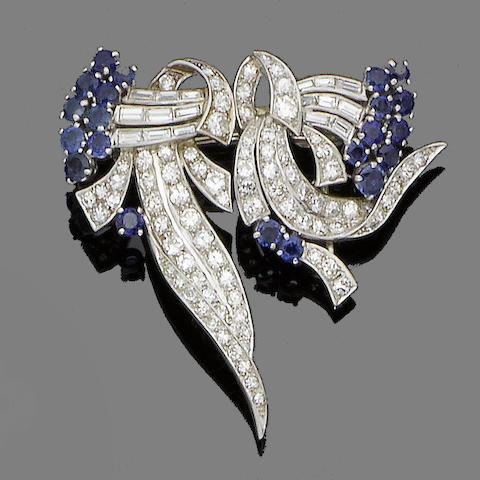 A sapphire and diamond double-clip brooch,