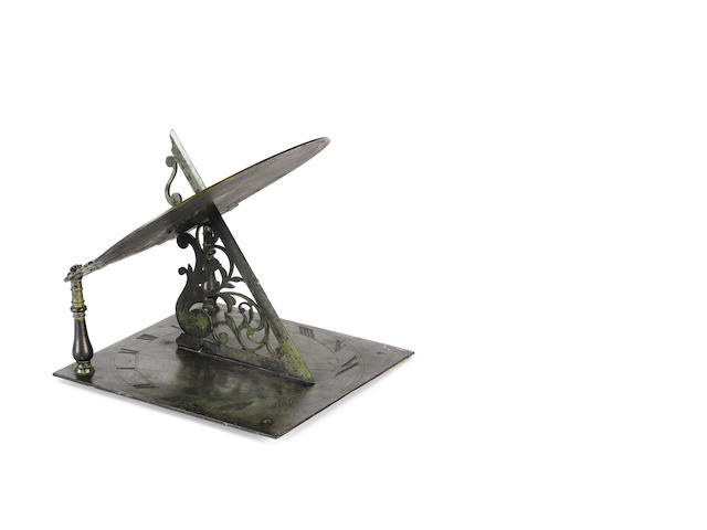 An unusual Samual Watson brass or bronze double sundial, English,  dated 1688,