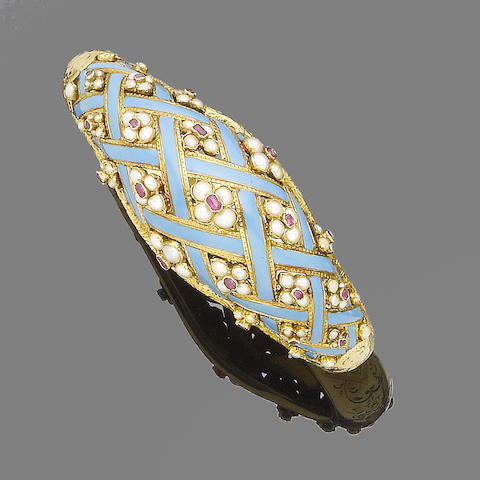 A seed pearl, enamel and ruby bangle,