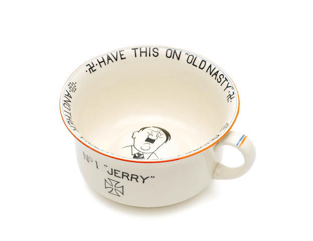 "A near-mint Crown Devon 'No.1 ""Jerry""' musical chamber pot, September 1939, one of a handful in existance,"