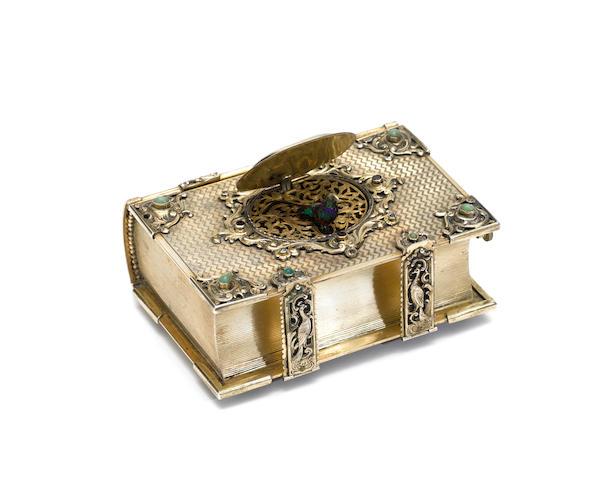 A good book-form silver, enamel and stone encrusted singing bird box, by Karl Griesbaum, model 15B, circa 1920,
