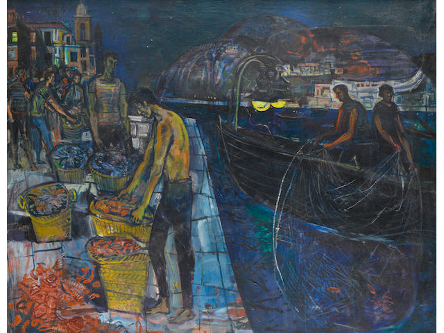 John Minton (British, 1917-1957) Fishermen at Blanes, Spain 120.7 x 150.5 cm. (47 1/2 x 59 1/4 in.)