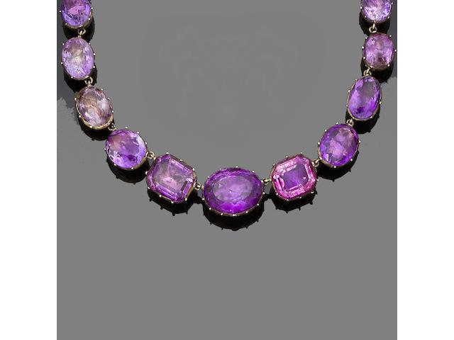 A 19th century amethyst rivière necklace,