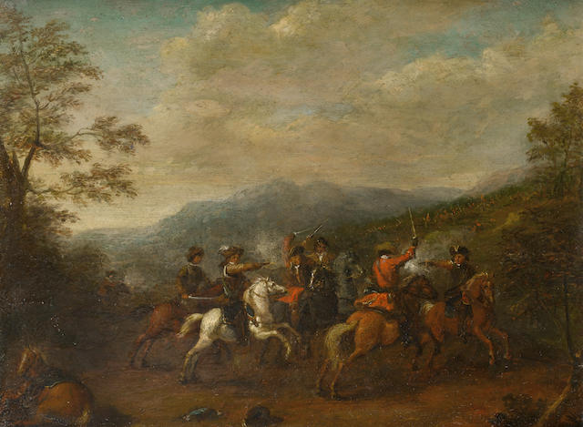 Circle of Karel (le Cavalier) Breydel (Flemish, 1678-1733) A cavalry skirmish with a mountainous landscape beyond
