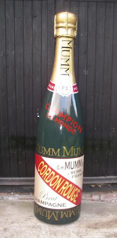 A hand-painted fibreglass celebratory half-Champagne bottle,
