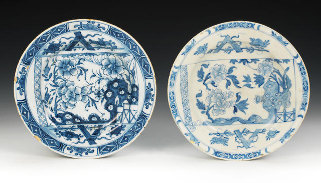 An interesting Irish delftware plate together with its early Bow counterpart