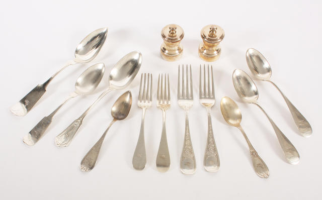 A part canteen of American white metal  Old English pattern flatware By Shreve, Crump & Low Co, stamped 'Sterling',  (34)