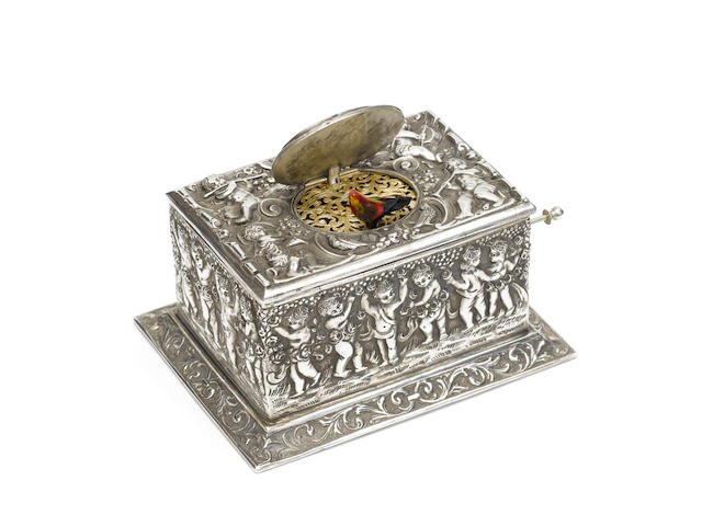 A German silver singing bird box, for the American market, circa 1920,