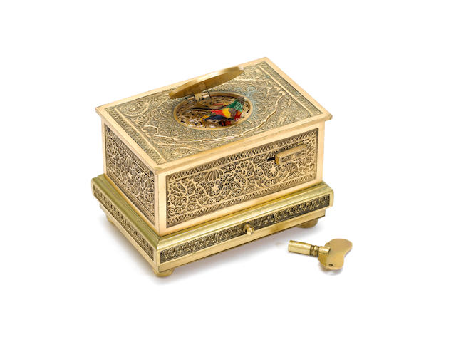 A gilt filigree singing bird box, by Karl Griesbaum, model 19B, circa 1930,