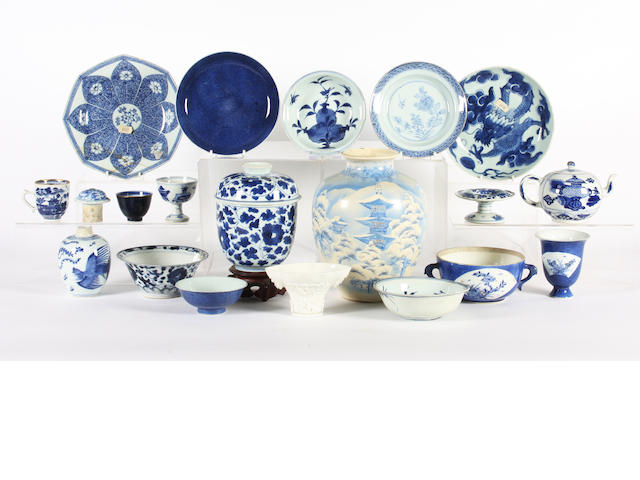 A group of Chinese blue and white porcelain