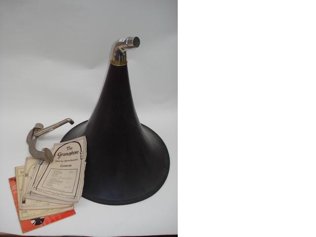 A wood gramophone horn;