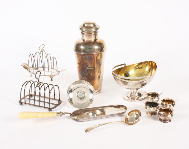 A quantity of Continental and English silver and electroplated items  (qty)