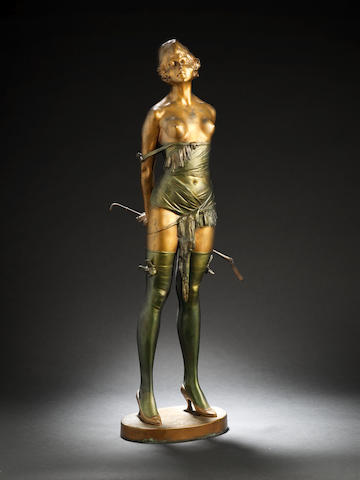 Bruno Zach 'The Riding Crop' an Impressive Green and Gilt Patinated Bronze Sculpture, circa 1930