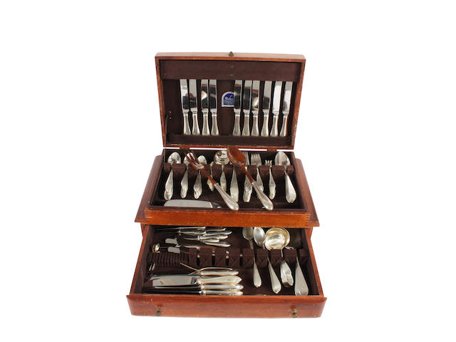 A mid-20th century American part canteen of white metal flatware for twelve place settings By Reed & Barton, stamped 'Sterling',  (qty)