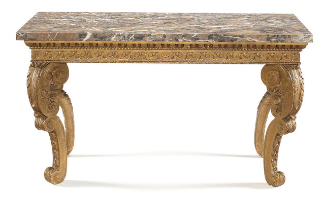 A George II carved giltwood side table in the manner of William Kent, later painted