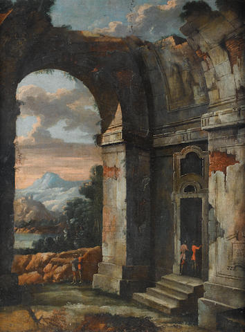 Follower of Viviano Codazzi (Bergamo 1603-1672 Rome) An classical capriccio with figures entering a ruined building