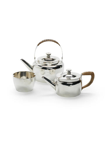 Christopher Dresser for Hukin & Heath a Three Piece Teaset, after a design by Christopher Dresser, circa 1875