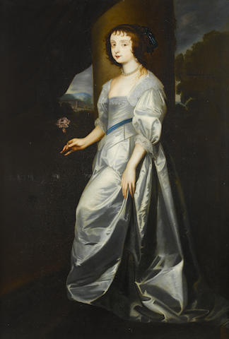 After Sir Anthony van Dyck, 17th Century Portrait of Lady Mary Villiers, full-length, in a white silk dress