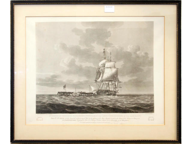 R & D Havell after Nicholas Pocock A collection of four views; The Action of HM Frigate Java against the USS Constitution December 1812. Plate 1. The start of the action Plate 2. Java receiving a raking broadside Plate 3. The Java totally dismasted Plate 4. The Java sinking Published by Boydell & Co. 1814 17.5x21in.(44.5x53cm)PL.