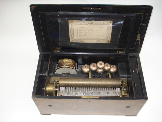 A drum and bells musical box, playing eight airs, circa 1880,