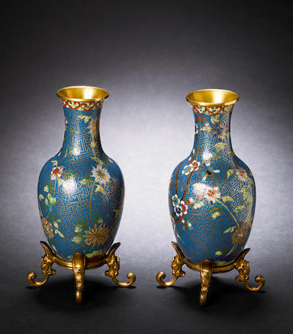 A pair of cloisonné baluster vases