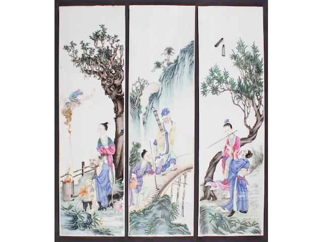Three Chinese famille rose large rectangular panels