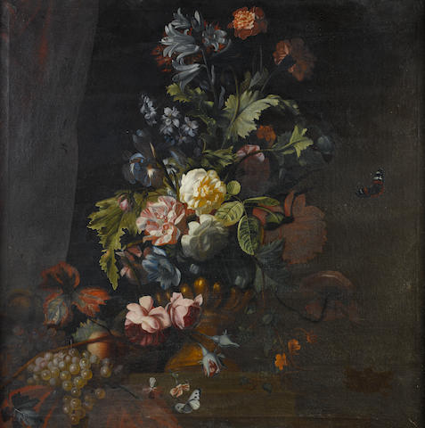 Manner of Simon Pietersz. Verelst, 19th Century Roses, lilies, irises and other flowers in an urn on a table ledge with grapes and butterflies; and   (2)